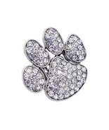 Puppy Paw Crystal Pave Stretch Ring Silver Clear - $13.00