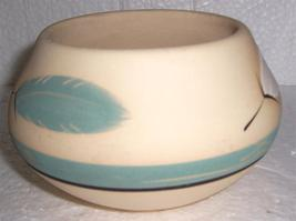 Ceramic Pottery Bowl By Desert Pueblo Pottery design Name Teal Feather - $55.14