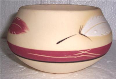 Ceramic Pottery Bowl by Desert Pueblo Pottery Design name Plum Feather
