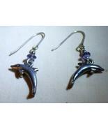 Vintage 1960s Silvertone Porpoise Dolphin Dangle Earrings Blue Glass Bea... - $10.00
