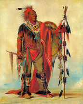Watchful Fox Indian Chief 30x44 George Catlin Native American Indian Art - $99.98