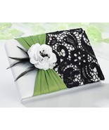 Green & Black Guest Book Wedding Reception Signature Guestbook Lace Gift - $21.00
