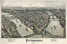 Bird's Eye View Map of  Pittsburgh 1902 22x30 Art Print Hand Numbered Ed... - $64.33
