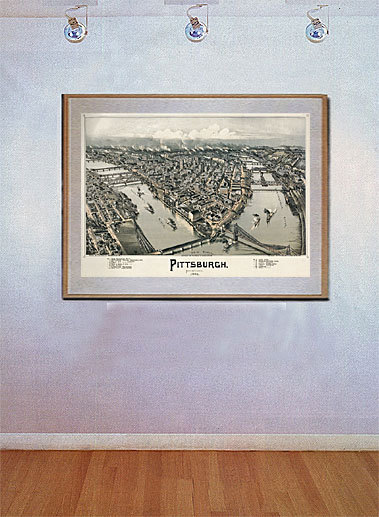 Bird's Eye View Map of  Pittsburgh 1902 22x30 Art Print Hand Numbered Edition image 2