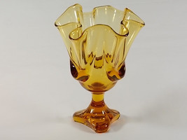 Viking Art Glass Amber Epic Drape Toed Napkin Vase #7103, Viking Golden Brown Ha - $49.00