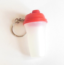 Vintage Tupperware Key Chain Miniature Shaker Red Lid Clear Body Silver Ring - $5.95