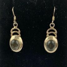 Vintage Sterling Silver 925 Amethyst Tourmalinated Quartz Dangling Drop ... - $37.77