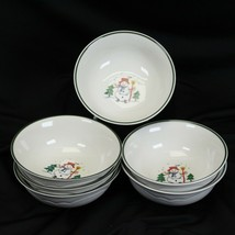 "Pfaltzgraff Snow Village Xmas Soup Bowls 6.125"" Lot of 6 - $32.29"