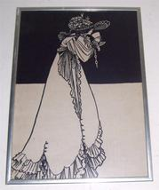 Cloth Fabric Art Litho Print  Women With Chalice Black & White Framed - $317.43