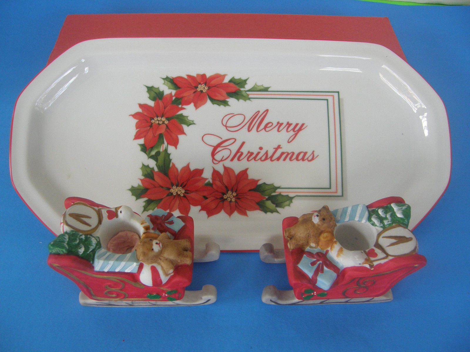 SET OF 2  CHRISTMAS  VOTIVE CANDLE HOLDERS BY LILLIAN VERNON AND PORCELAIN TRAY - $14.01