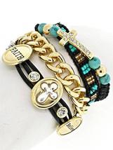 Leather Rhinestone Believe Faith Cross Turquoise Seed Bead Chain Wrap Br... - $19.97