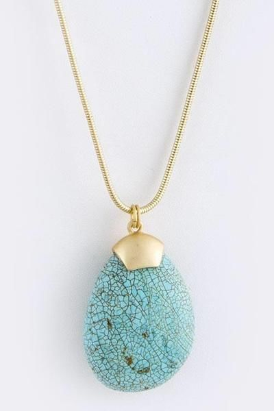 Turquoise Teardrop Matte Gold Necklace