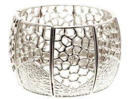 Honeycomb Embossed Stretchable Wide Cuff Bangle Bracelet - $18.71