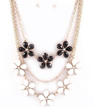 Trendy Black & White Flower Multi Layered Chain Link Necklace - £15.43 GBP