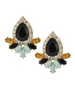 Rhinestone Black Teardrop Light Blue Black Gold Fan Statement Earrings - $18.71