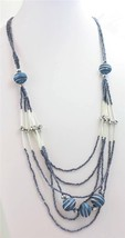 Midnight Blue Seed Bead Crystal Glass Hand Painted Multi Row Fashion Nec... - $24.87 CAD