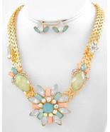 Mint Peach Aqua Acrylic Flower Fashion Necklace Earring Set - $19.99