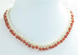 Freshwater Pearl Agate Seed Bead Choker Collar Necklace Sterling Clasp - $29.88 CAD