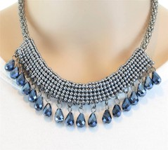 Trendy Hematite Gray Seed Bead Mesh Crystal Glass Briolette Necklace - £15.04 GBP