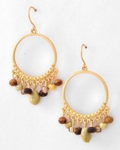 Matte Gold Tone Faceted Green & Brown Beaded Drop Dangle Earrings - $19.97