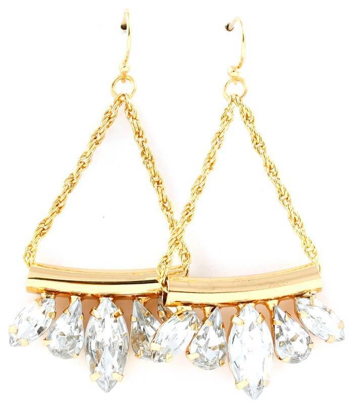 Primary image for Trendy Clear Acrylic Drop Dangle Earrings Gold tone Wedding Bride