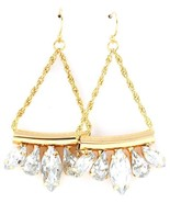 Trendy Clear Acrylic Drop Dangle Earrings Gold tone Wedding Bride - $19.97