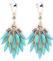 Turquoise Acrylic Crystal Class Celebrity Trendy Dangle Earrings - $13.59