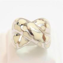 Chunky Cream Enamel Animal Print Sterling Silver X Design Ring Sterling ... - $47.40