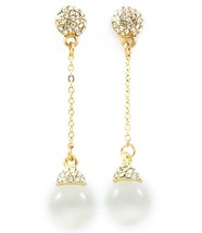 Rhinestone White Cats Eye Crystal Glass Dangle Drop Earrrings - £16.05 GBP
