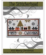 Merry Christmas primitive cross stitch chart The Stitcherhood - $7.20