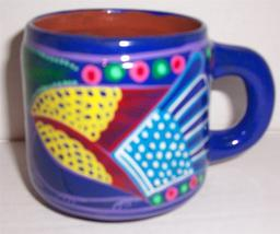 Cozumel Mexico Handmade & HandPainted Clay Pottery Collectible Short Mug - $46.33