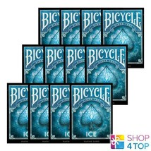 12 BICYCLE ICE PLAYING CARDS DECKS MADE IN USA ORIGINAL POKER BLUE GLACI... - $77.45