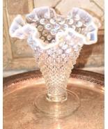 "Fenton? Clear White  MOONSTONE Glass Hob Nail Ruffled Top Vase 7.5""H - $79.99"