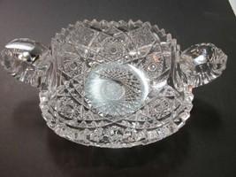 American Brilliant Period hand Cut Glass 2 handled dish - $92.57