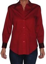Jones New York Women's Shirt with Contrasting Fabric on Cuff/Collar Inte... - $24.73