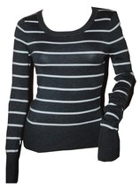 Love Change Junior's Long Sleeve Gray & White Stripe Sweater NWT (pb108) - $22.76