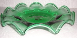 DEPRESSION GLASS HANDBLOWN GREEN CENTER TABLE DISPLAY - $142.89