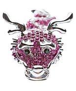 Dragon Fuchsia Pink Clear Crystals Silver Anima... - $16.60