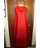 Red Full Length Dress with Embroidery on Chest - Size 9/10 - $10.99