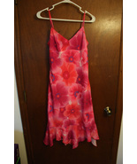 Mirrors Pink Floral Dress with Ruffled Hem - Juniors M - $7.99