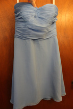 David's Bridal Strapless Babydoll Blue Dress - $9.99