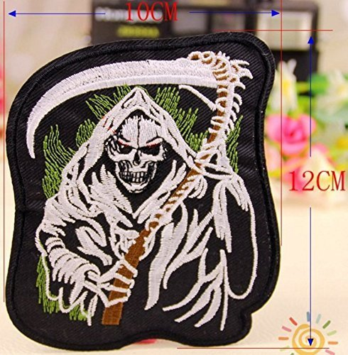 "The Devil Skeleton Embroidered Patch Iron On Patch Bike Rider Size 5 x 4"" Shippe"