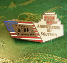 Military D Day WWII Lapel Pin Vintage Beach of UTAH Battle of Normandy E... - $75.00