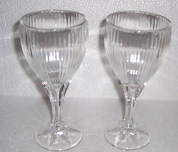 Depression Solid Crystal Cut Ribbed Glasses Made In FRANCE - $84.39