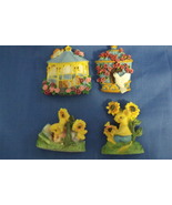Set of 4 Kitchen Refrigerator Magnets Birdhouses and Bunnies - $8.95