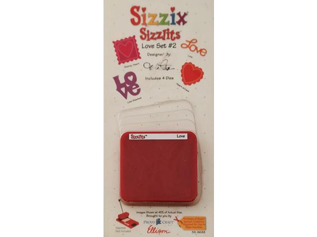 Sizzix Sizzlits Love Set #2, Set of 4 Dies #38-9698