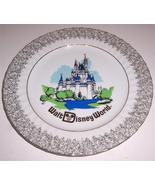 Disneyland Walt Disney World Collectors Plate with Silver Gilt Edging - $55.14