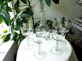 Bryce # 670 Crystal Decanter and 6 Matching Glasses c 1940's - $44.55