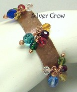 Copper Textured Cuff  Bracelet  Multi Colored Dangles - $22.99