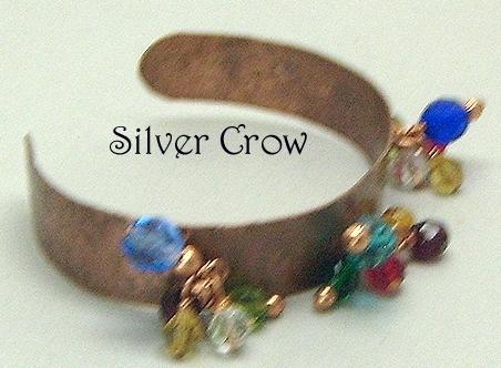 Copper Textured Cuff  Bracelet  Multi Colored Dangles